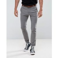 Tom Tailor Skinny Chino With Belt - Grey, kolor szary