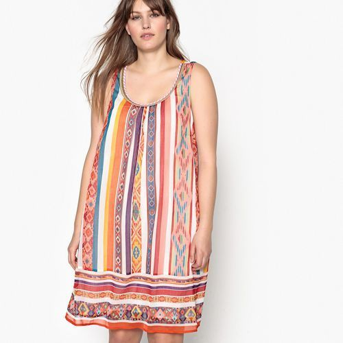 Castaluna Krótka sukienka bez rękawów, wzorzysta, rozkloszowana