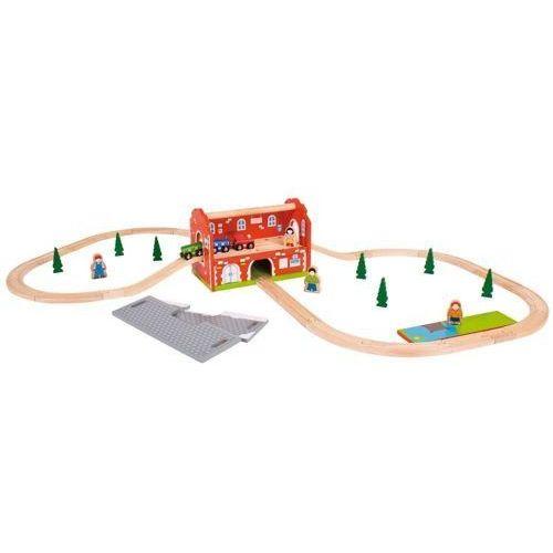 Dworzec kolejowy wraz z torami do zabawy, wyposażenie kolejek drewnianych bigjigs marki Bigjigs toys