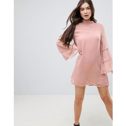 QED London Tiered Sleeve Shift Dress - Pink
