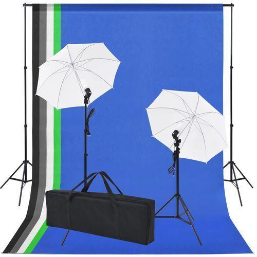 sprzęt do studia fotograficznego: tło 5 kolorów i 2 parasolki marki Vidaxl