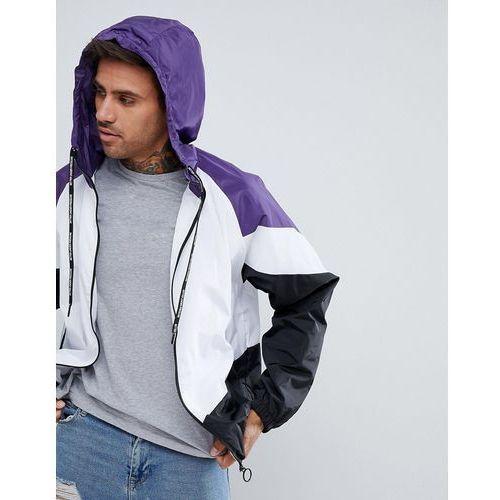 Pull&Bear Windbreaker With Hood In Purple Colourblock - Purple
