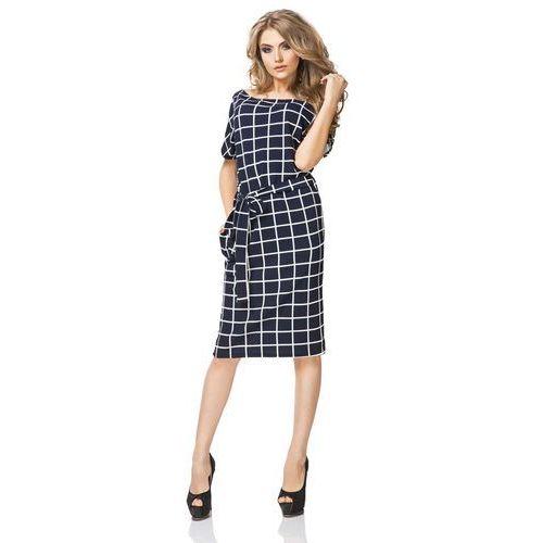 Sukienka Prosta Midi z Geometrycznym Wzorem - Wafelek, kolor niebieski