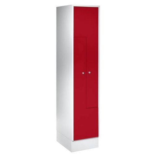 Szafka ze stali, szafka do przebieralni, 2 przedziały, drzwi czerwone. stabilna, marki Eugen wolf