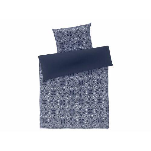 pościel satynowa 140 x 200 cm, 1 komplet (wzór ornamentowy niebieski) marki Meradiso®