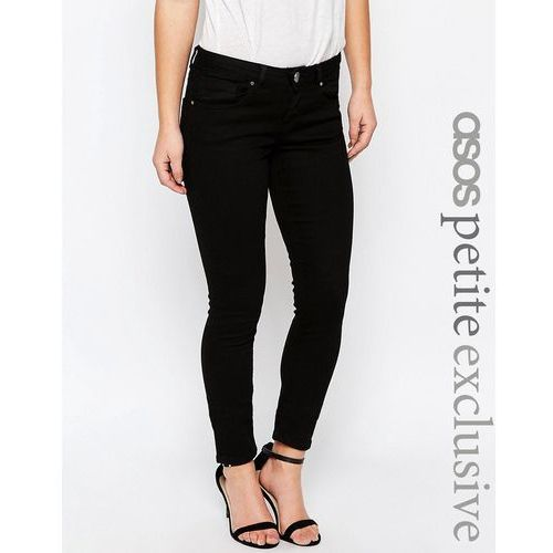 ASOS PETITE Whitby Low Rise Skinny Jeans In Clean Black - Black