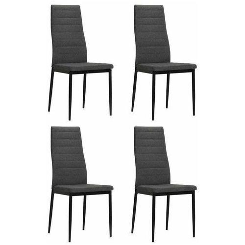 Vidaxl Krzesła do jadalni tapicerowane tkaniną, ciemnoszare, 4 szt.