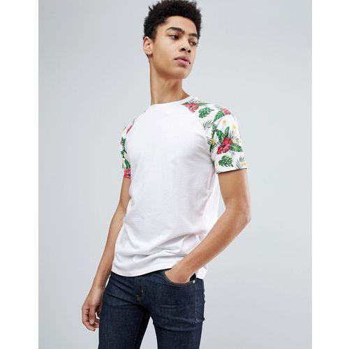 floral contrast raglan sleeve t-shirt - white marki Threadbare