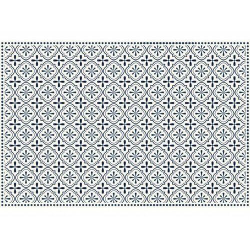 Vente-unique Winylowy dywan terquise z motywem cementowych płytek – 120 × 180 cm – kolor niebieski i biały