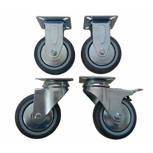 Zestaw kół fi 75 mm 2 szt. stałe, 1 szt. z hamulcem i 1 szt. bez hamulca.