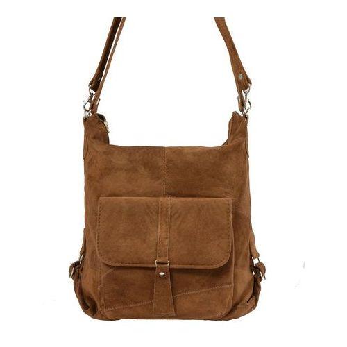 Shopper bag zamszowy 2w1 koniakowy