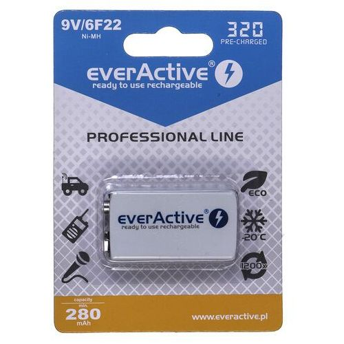 Everactive Akumulatorek 6f22/9v ni-mh 320 mah ready to use