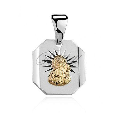 Srebrny medalik matka boska częstochowska złocona - md078g, marki Sentiell