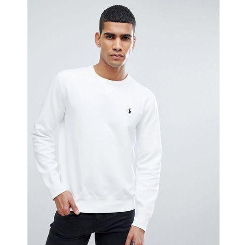 Polo ralph lauren crew neck sweatshirt with polo player logo in white - white