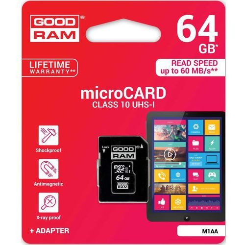 Karta pamięci microsd 64gb class 10 uhs i marki Goodram
