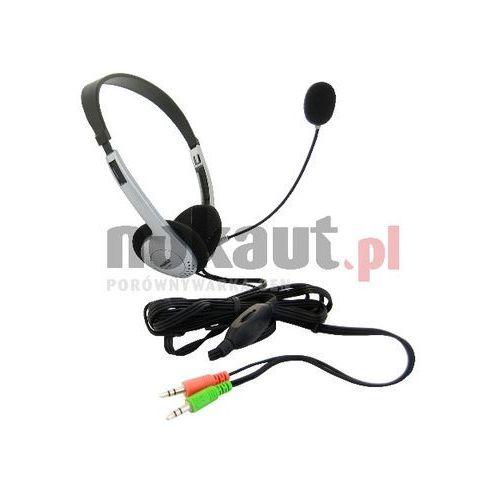 4World Słuchawki z mikrofonem 4World srebrne, regulacja głośności na kablu (2994)!