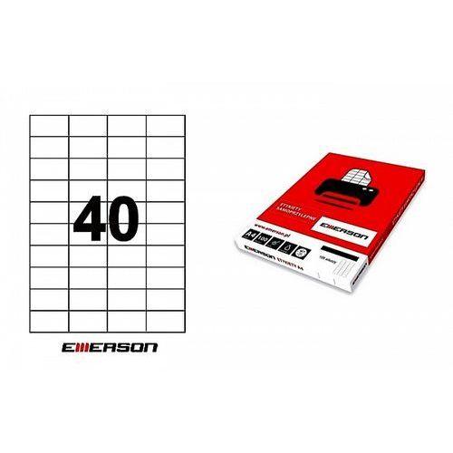 Etykiety samoprzylepne Emerson 52,5x29,6mm białe nr 022, 100ark. A4