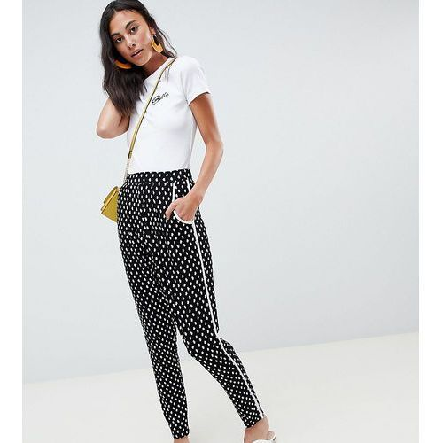 Asos tall Asos design tall tapered peg with contrast bind in mono floral print - multi