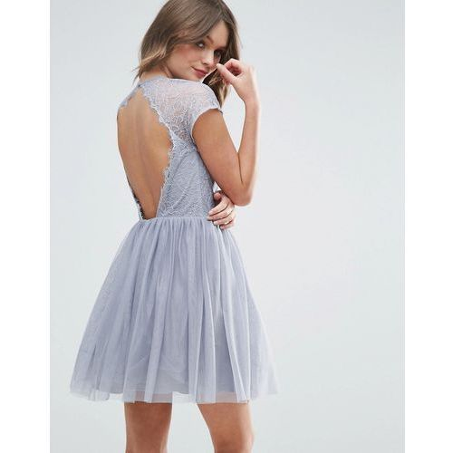 premium lace tulle mini prom dress - grey, Asos