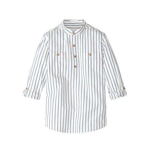 Koszula z wywijanymi rękawami bonprix biel wełny - indygo w paski