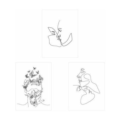 Zestaw 3 plakatów linie twarze 30 x 40 cm marki Art canvas