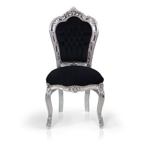 Krzesło dekoracyjne Kair, srebrna, drewniana rama, czarne, welurowe obicie, kolor czarny