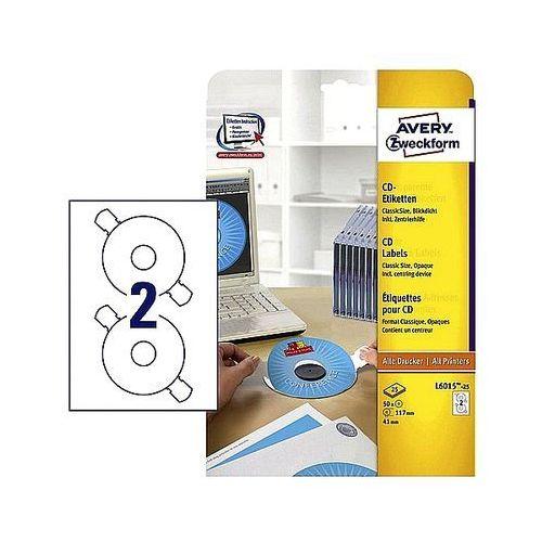 Etykiety samoprzylepne na CD/DVD Avery Zweckform białe matowe L6015-25 25ark. A4
