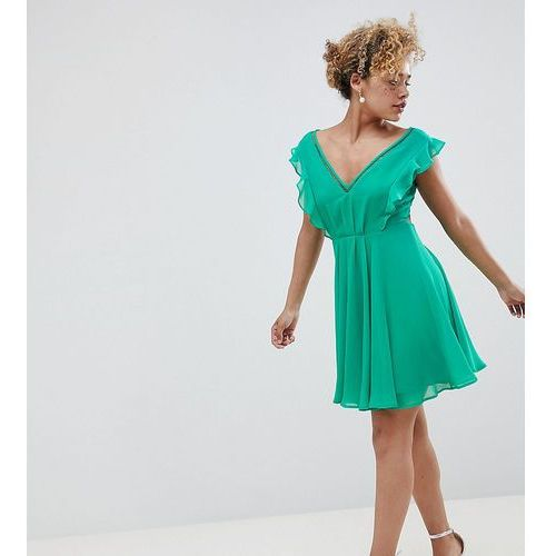 Asos design petite pleated ruffle mini dress with cut outs - multi, Asos petite