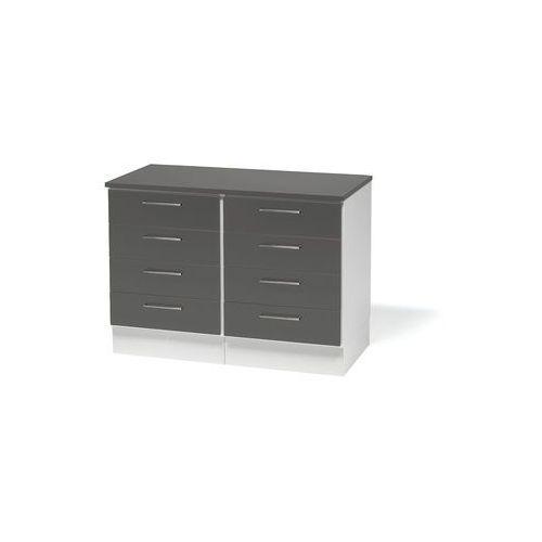 Podwójna szafka z szufladami oraz blatem. Korpus: Biały Wykończenia: Szare