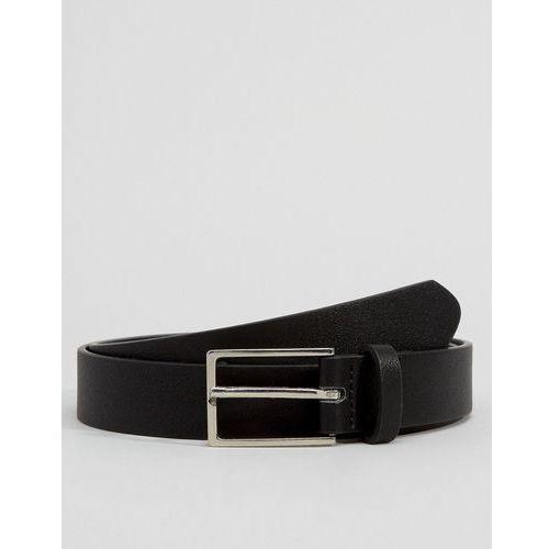 Asos smart faux leather slim belt in black - black