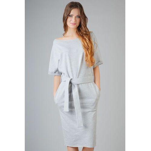 Jasnoszara dzianinowa prosta sukienka za kolano z wiązanym paskiem, Tessita, 34-46