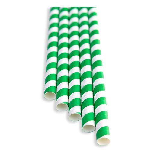 Słomki papierowe zielono - białe marki Bareq