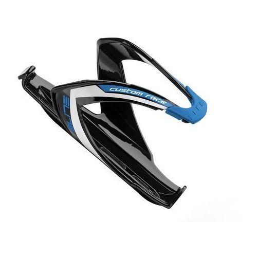 El00616111 koszyk na bidon custom race czarny z niebieskim logo marki Elite