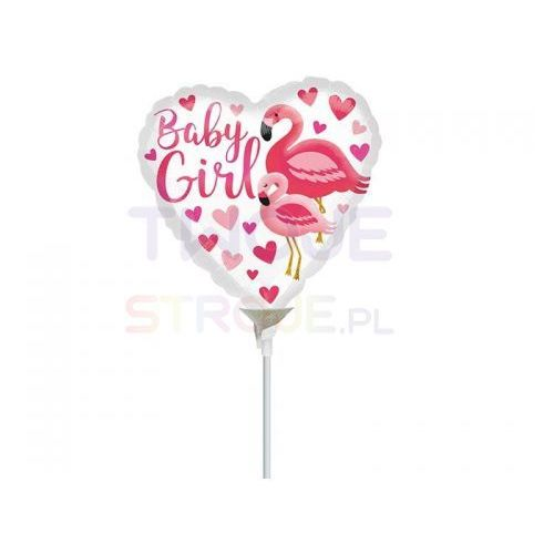 BALON BABY GIRL FLAMING RÓŻ 9'' 23cm
