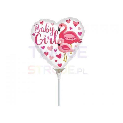 Balon baby girl flaming różowy 9'' 23cm marki Twojestroje.pl