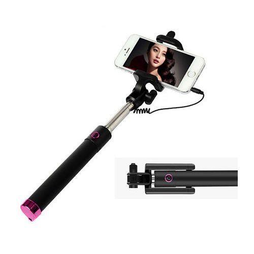Uniwersalny uchwyt selfie stick do aparatów i smartfonów monopod - różowy marki 4kom.pl