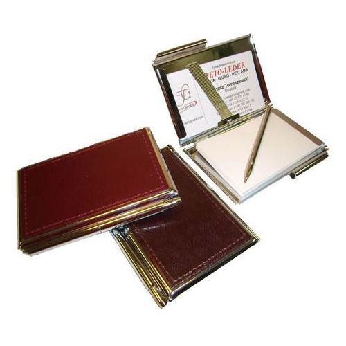 Tomi ginaldi Etui na wizytówki osobiste kw-38s - metalowe z notesikiem i długopisem wykończone skórą naturalną - kolekcja classic