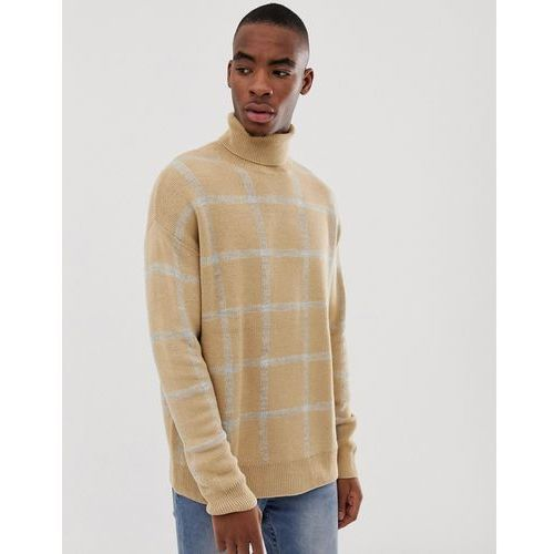 Bershka knitted roll neck jumper in camel with grey check - beige