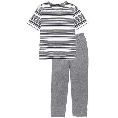 Piżama szary melanż w paski, Bonprix, M-XL