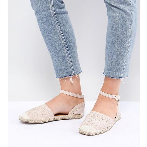 Truffle collection wide fit stud trim espadrille - beige