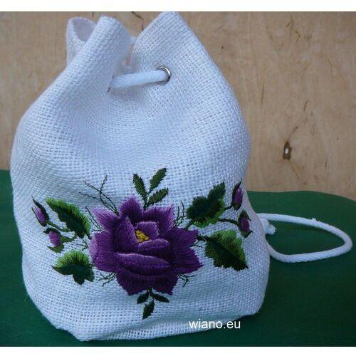 Torebka haftowana - łowicka róża filetowa (zcz)
