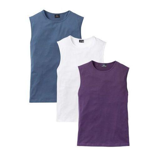 Shirt bez rękawów (3 szt.) Regular Fit bonprix jagodowy + niebieski dżins + biały