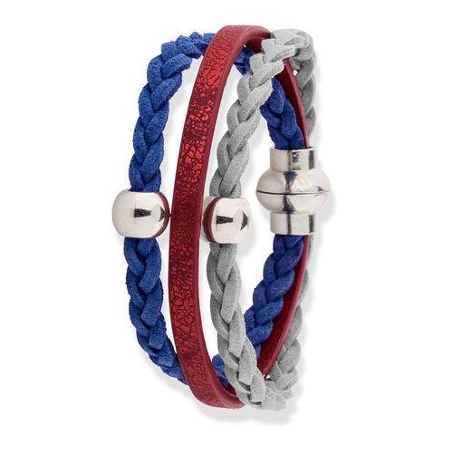 Bransoletka bonprix srebrny kolor - czerwono-ciemnoniebiesko-szary, kolor niebieski