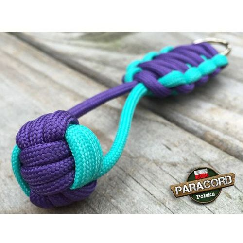 "Brelok survivalowy Monkey's Fist ""Pięść Małpy"", kolor ""Acid blue - Purple"""