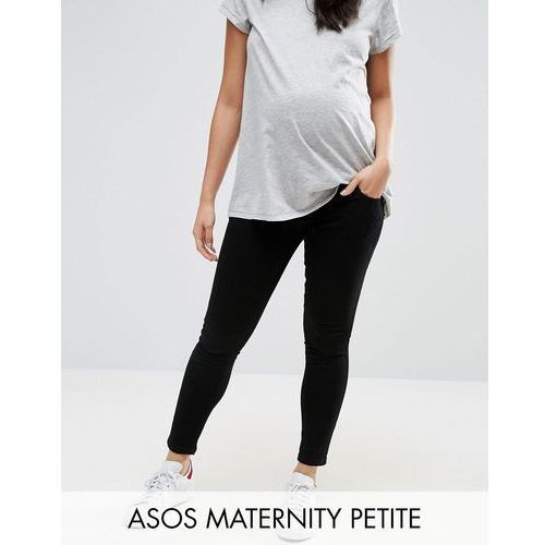 petite ridley skinny jean in clean black with over the bump waistband - black marki Asos maternity