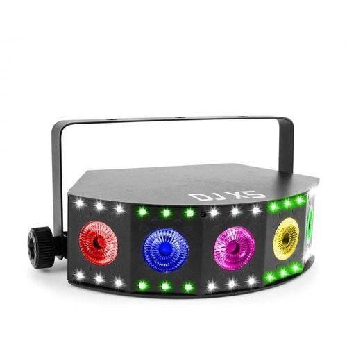 Beamz dj x5 array projektor led 5x dioda led 10 w 4w1 i 30x dioda led smd rgb tryb dmx lub standalone kolor czarny