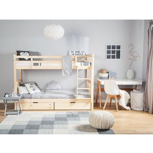 Łóżko piętrowe drewniane jasnobrązowe 90 x 200 cm REVIN