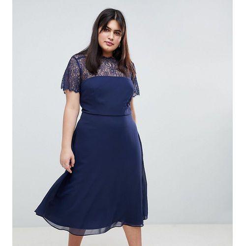 ASOS DESIGN Curve Lace Insert Panelled Midi Dress - Navy, kolor niebieski
