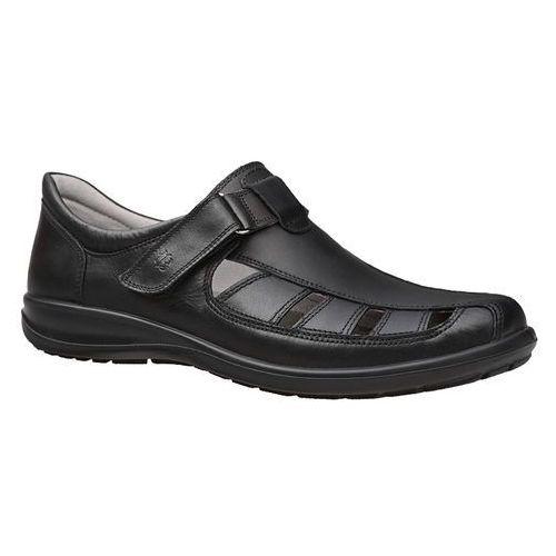 Półbuty sandały męskie 3216-372 czarne - czarny, Badura