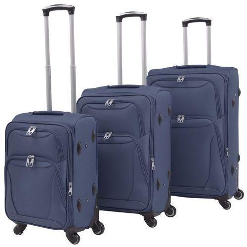 vidaXL 3-częściowy komplet walizek podróżnych, granatowy (8718475565642)